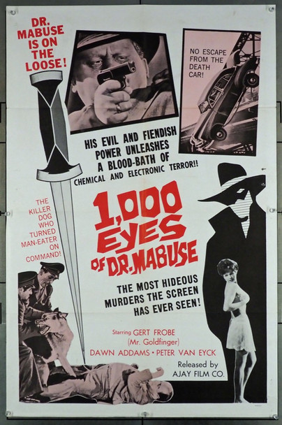 1000 AUGEN DES DR. MABUSE, DIE (1960) 3388 Original Ajay Film Company 1966 Re-Release One Sheet Poster (27x41).  Folded.  Very Good Plus to Fine Condition.