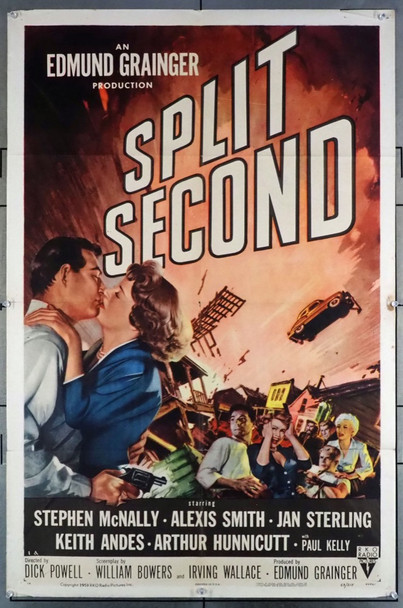 SPLIT SECOND (1953) 3389 RKO Original One-Sheet Poster (27x41) Folded  Very Good Plus Condition