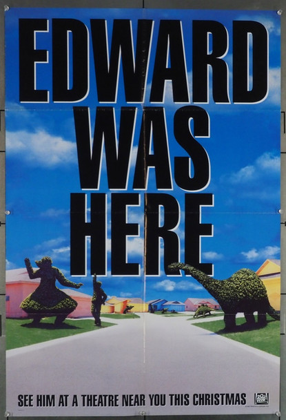 EDWARD SCISSORHANDS (1991) 8811 Original 20th Century-Fox Advance One Sheet Poster (27x41).  Topiary Style.  Folded.  Fine Condition Condition.