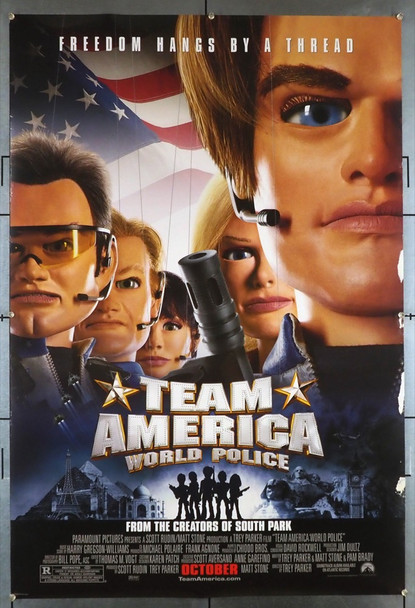 TEAM AMERICA: WORLD POLICE (2004) 28017 Paramount Pictures Original U.S. One-Sheet Poster (27x40)   Rolled  Fair Condition Only