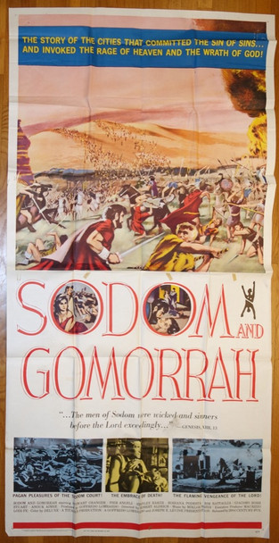 SODOM AND GOMORRAH (1962) 13136 20th Century Fox Original Three-Sheet Poster (41x81)  Folded  Fine Condition