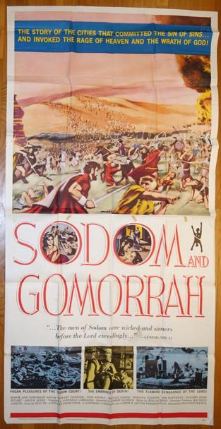 SODOM AND GOMORRAH (1962) 13136 20th Century Fox Original Three-Sheet Poster (41x81)  Folded  Fine Condition