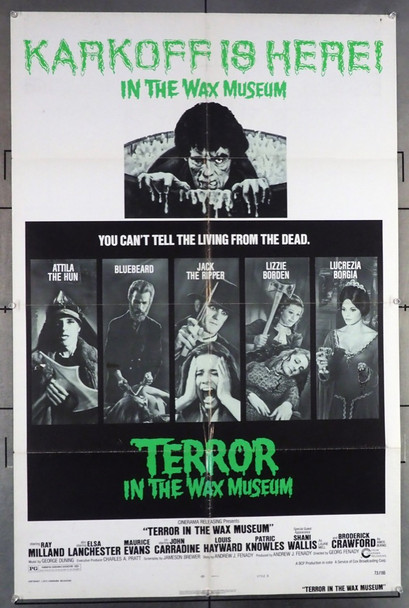 TERROR IN THE WAX MUSEUM (1973) 10850 Original Cinerama Releasing Style B One Sheet Poster (27x41).  Folded.  Very Good Plus Condition.
