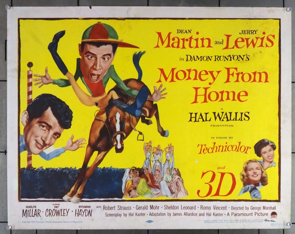 MONEY FROM HOME (1954) 27934 Original Paramount Pictures Half Sheet Poster (22x28).  Never Folded.  Good Condition Only.  3D