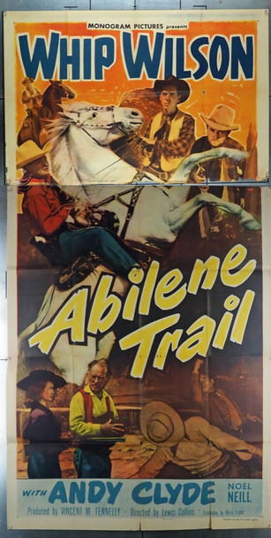 ABILENE TRAIL (1951) 17496 Original Monogram Pictures Three Sheet Poster (41x81).  Folded.  Good Condition  Average Used Condition