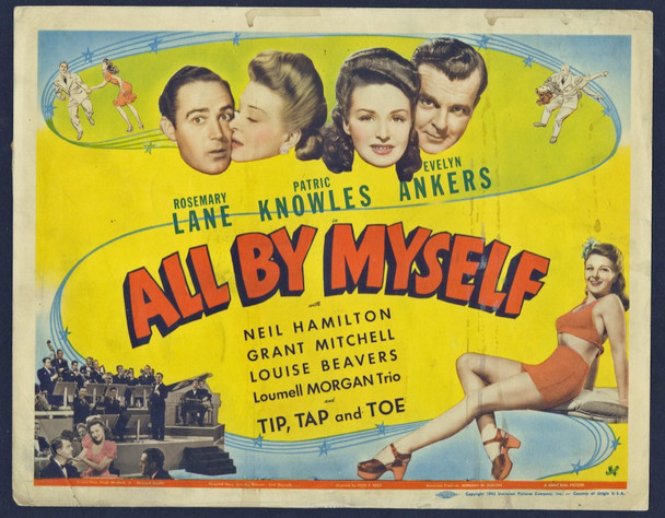 ALL BY MYSELF (1943) 8877 Original Universal Pictures Title Lobby Card (11x14).  Fair to Good Condition.