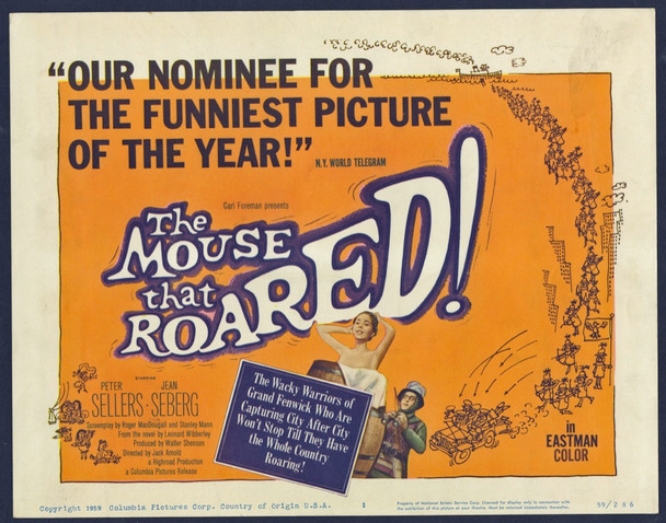 MOUSE THAT ROARED, THE (1959) 8880 Columbia Pictures Original U.S. Title Card  (11x14) Very Fine Condition
