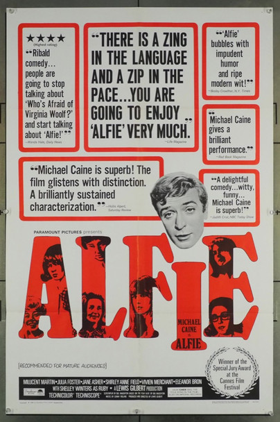 ALFIE (1966) 14111 Paramount PIctures Original U.S. One-Sheet Poster (27x41) Folded  Very Fine
