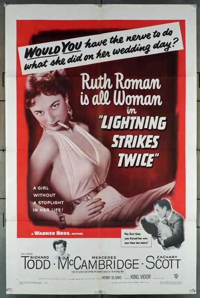 LIGHTNING STRIKES TWICE (1951) 14976 Original Warner Brothers One Sheet Poster (27x41).  Folded.  Very Fine.