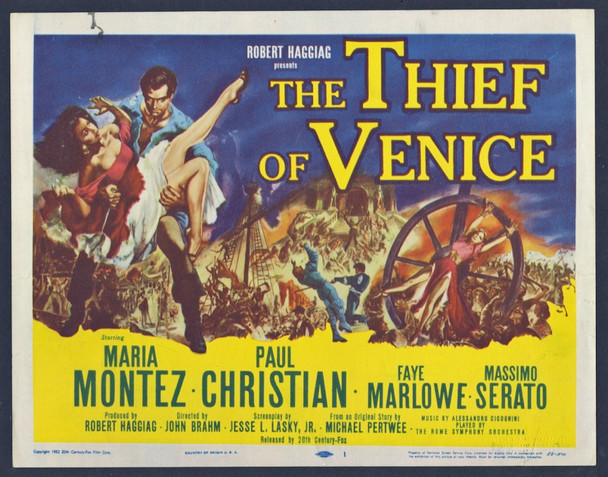 THIEF OF VENICE, THE (1952) 8908 20th Century Fox Original U.S. Title Card (11x14)  Very Good Condition