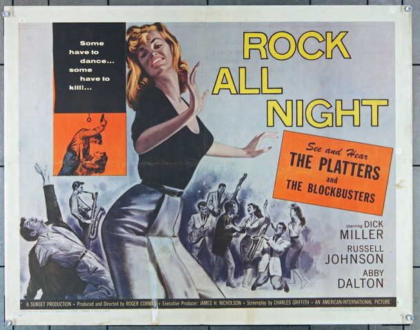ROCK ALL NIGHT (1957) 27796 American International Original U.S. Half Sheet Poster (22x28)  Folded  Very Good Plus Condition