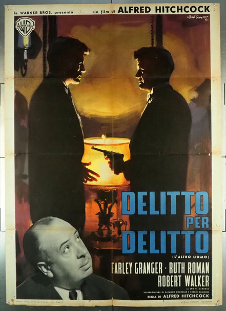 STRANGERS ON A TRAIN (1951) 28038 Italian 39x55.  Folded.  Reissue of 1961.  Art by Gasparri.   Very Good Plus Condition