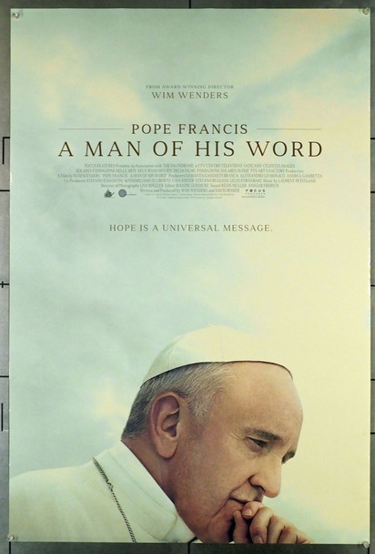 POPE FRANCIS: A MAN OF HIS WORD (2018) 28082 Original Focus Features One Sheet Poster (27x40).  Double-Sided.  Rolled.  Fine Condition.