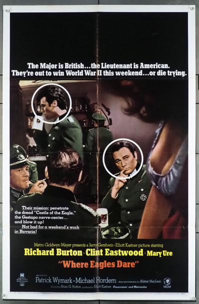 WHERE EAGLES DARE (1968) 26834 MGM Original Style B One-Sheet Poster (27x41) Folded  Fine Plus to Very Fine Condition