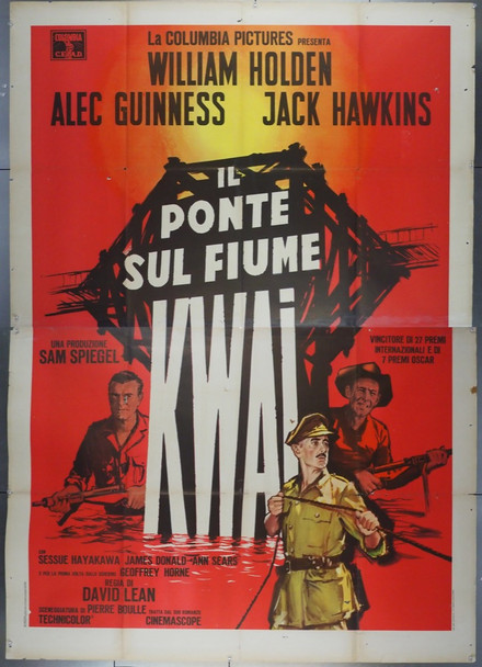 BRIDGE ON THE RIVER KWAI, THE (1957) 28041 Columbia PIctures Italian 79x55 Poster  Re-release 1960s  Folded  Very Good Plus