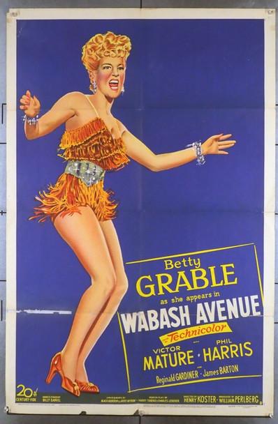 WABASH AVENUE (1950) 28108 20th Century Fox Original One-Sheet Poster (27x41)  Folded  Good Condition  Average Used