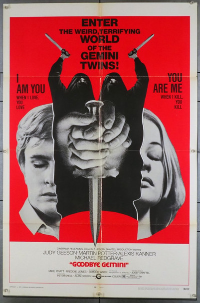 GOODBYE GEMINI (1970) 3790 Original Cinerama Releasing Corporation One Sheet Poster (27x41).  Folded.  Fine Condition.