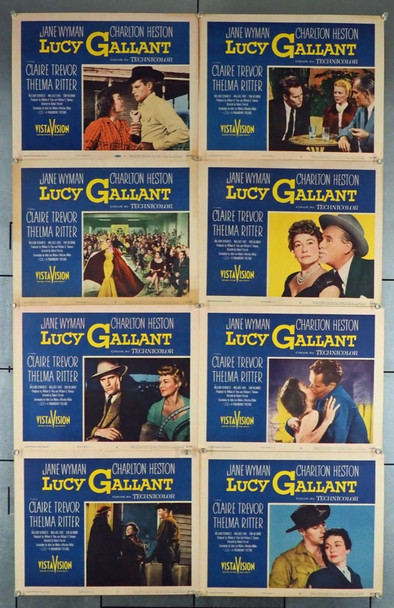 LUCY GALLANT (1955) 4327 Original Paramount Pictures Complete Set of 8 Lobby Cards (11x14).  Fine Condition.
