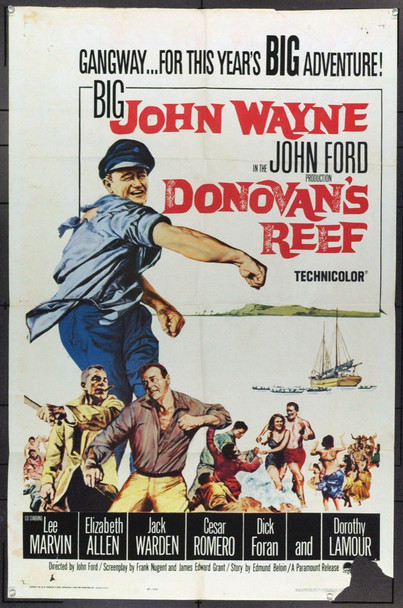 DONOVAN'S REEF (1963) 2164 Paramount PIctures Original U.S. One-Sheet Poster (27x41) Folded  Fair to Good Condition