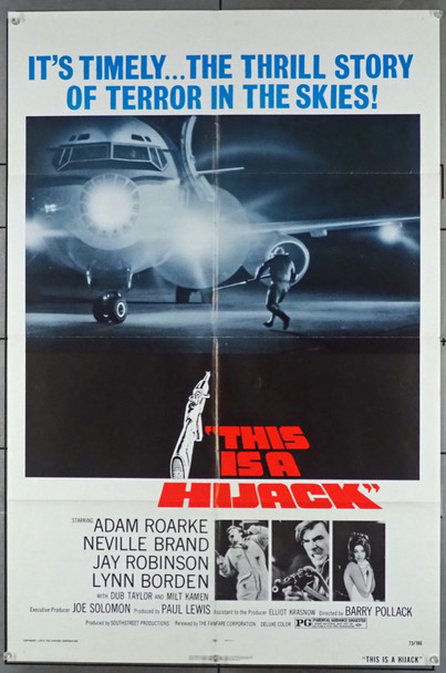 THIS IS A HIJACK (1973) 11546 Original U.S. One-Sheet Poster (27x41) Folded  Fine Plus Condition