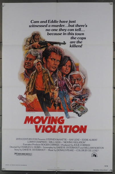 MOVING VIOLATION (1976) 11564 20th Century Fox Original U.S. One-Sheet Poster (27x41) Folded  Theater Used  Very Good Condition