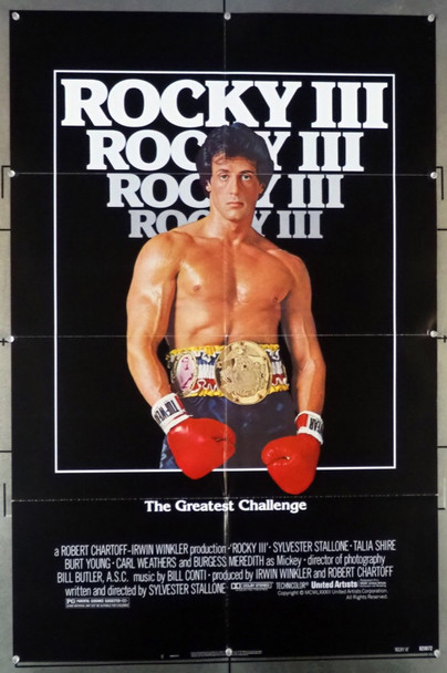 ROCKY III (1982) 1500 United Artists Original U.S. One-Sheet Poster (27x41) Folded  Very Fine Condition