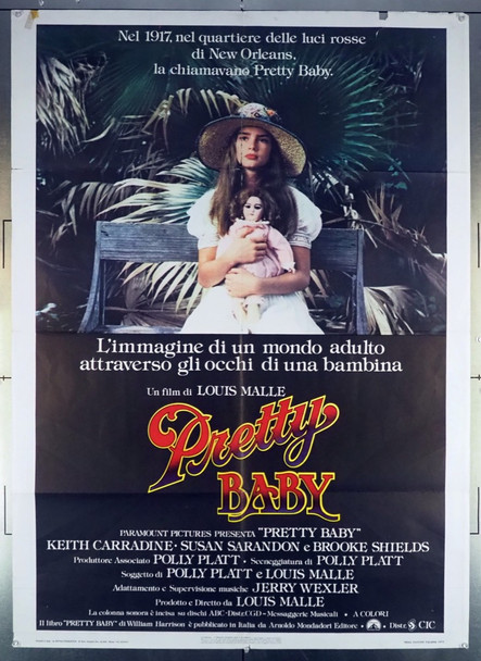 PRETTY BABY (1978) 27981 Original Italian 2 Fogli Poster (1978).  Folded.  Good Condition.   Average Used