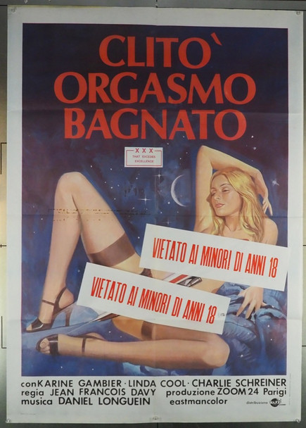 CLITO ORGASMO BAGNATO (1987) 27976 Original Italian 2 Fogli (39x55).  Folded.  Fine Condition.  Theater-Used