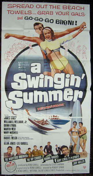 SWINGIN' SUMMER, A (1965) 9731 United Screen Arts Original U.S. Three Sheet Poster (41x81) Folded  Very Good Plus Condition