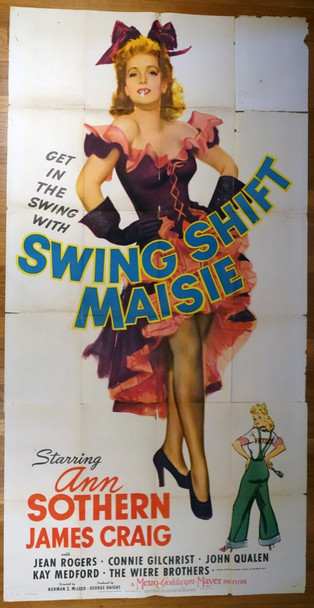 SWING SHIFT MAISIE (1943) 9716 MGM Original U.S. Three-Sheet Poster (41x81)  Folded  Good Condition