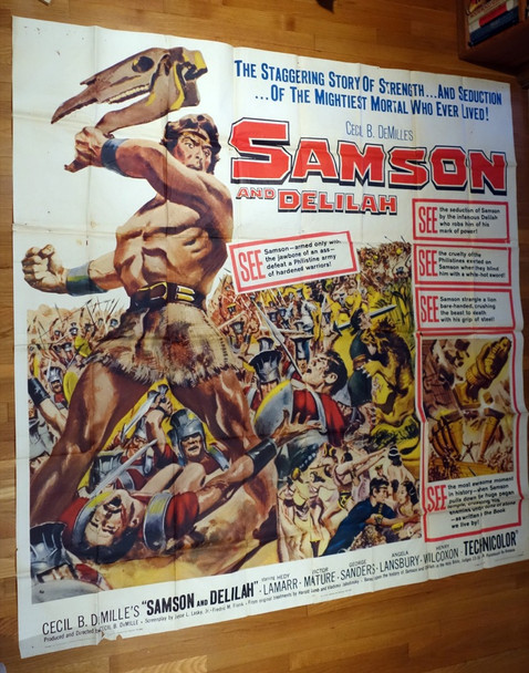 SAMSON AND DELILAH (1949) 12926 Paramount PIctures U.S. Six Sheet Poster  Re-release of 1959  Folded  Theater-Used