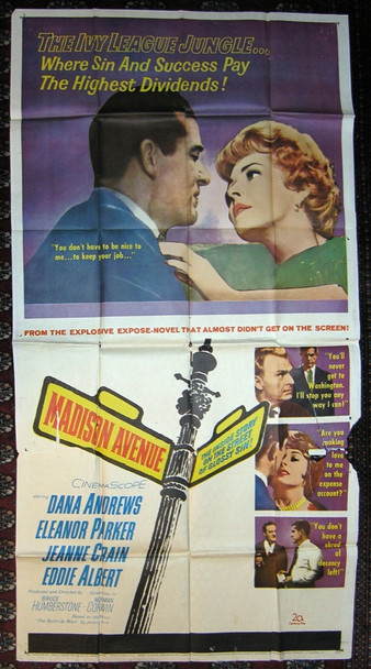 MADISON AVENUE (1961) 12979 Original 20th Century-Fox Three Sheet Poster (41x81).  Folded.  Very Good Condition.