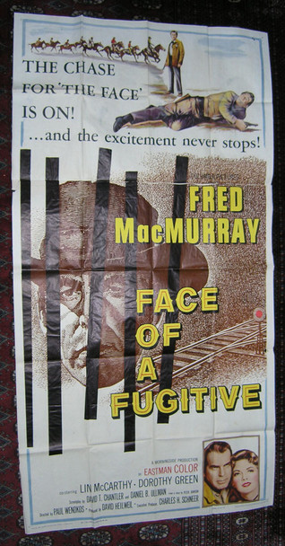 FACE OF A FUGITIVE (1959) 13528 Columbia Pictures Original U.S. Three Sheet Poster (41x81) Folded  Theater Used