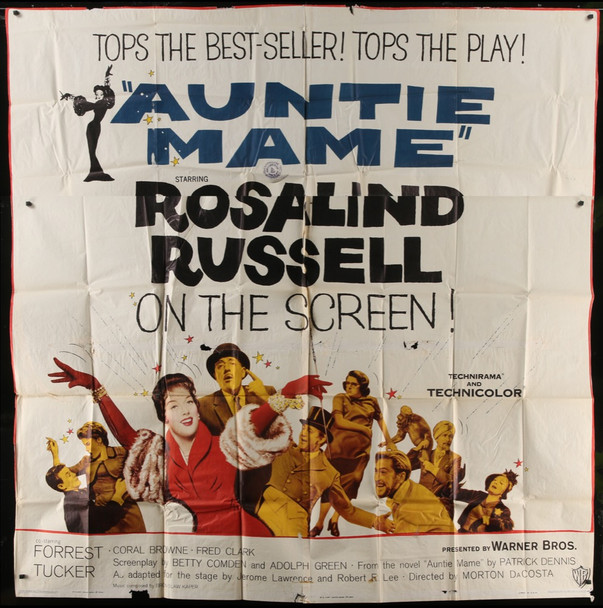 AUNTIE MAME (1958) 28209 Warner Brothers Pictures Original U.S. Six Sheet Poster (81x81)  Theater Used  Fair Condition