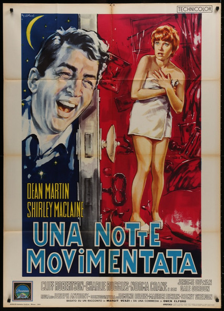 ALL IN A NIGHT'S WORK (1960) 28215 Paramount Pictures Original Italian 39x55 Poster   Folded  Very Good Plus Condition  Average Used