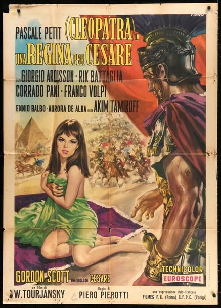 CLEOPATRA UNA REGINA PER CESARE (1962) 28216 Films Cinematografica Original Italian 39x55 Poster  Folded   Average Used Condition