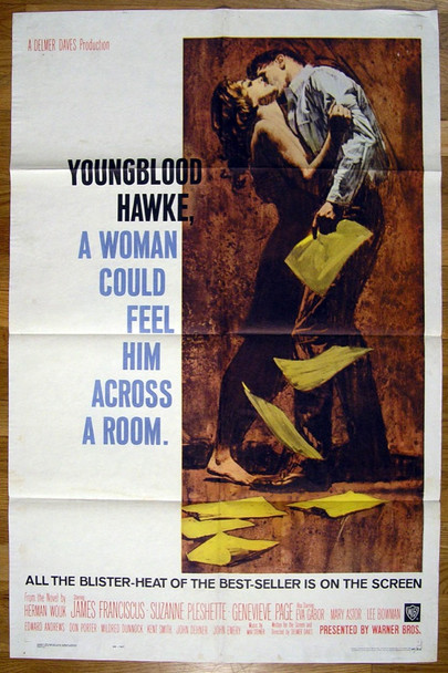 YOUNGBLOOD HAWKE (1964) 11252 Warner Brothers Original U.S. One-Sheet Poster (27x41) Folded  Very Good Condition
