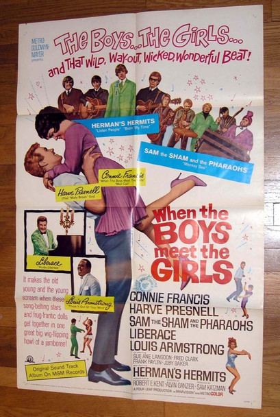 WHEN THE BOYS MEET THE GIRLS (1965) 8198 MGM Original U.S. One-Sheet Poster (27x41) Folded  Very Good Plus Condition