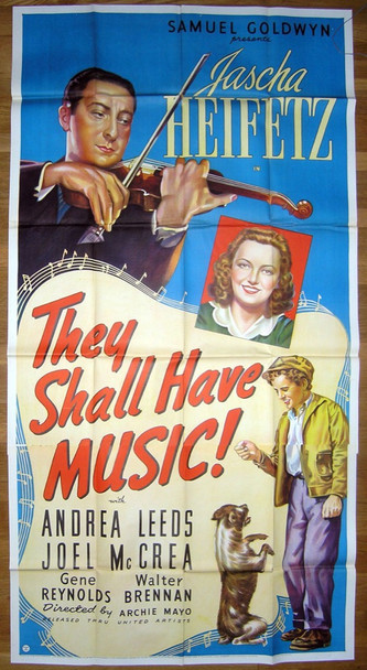 THEY SHALL HAVE MUSIC (1939) 16316 Samuel Goldwyn Studios Original U.S. Three-Sheet Poster (41x81) Folded  Very Fine Condition