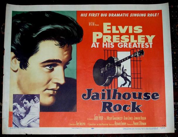 JAILHOUSE ROCK (1957) 19060 MGM Original U.S. Half Sheet Poster   Style A (22x28)  Fine Plus Condition