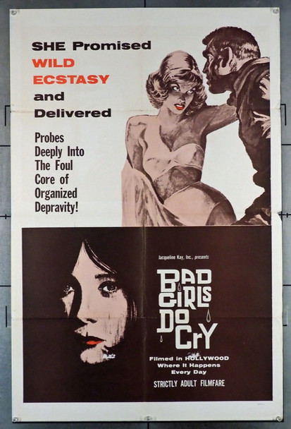 BAD GIRLS DO CRY (1965) 3537 Original U.S. One-Sheet Poster (27x41), Folded.  Fine Plus Condition
