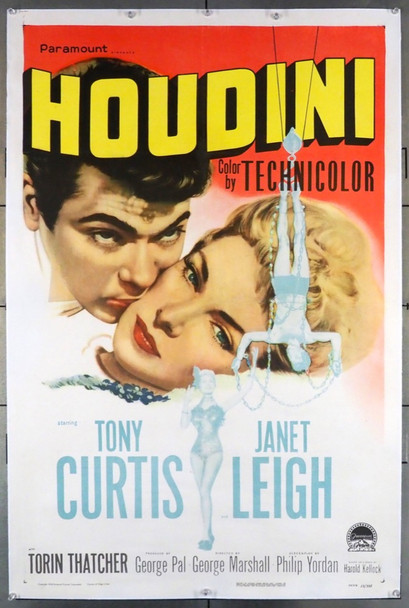 HOUDINI (1953) 28177 Paramount Pictures Original U.S. One-Sheet Poster (27x41) Linen Backed  Fine Plus Condition