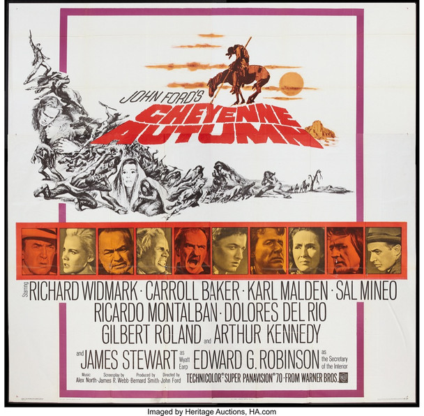 CHEYENNE AUTUMN (1964) 14506 Warner Brothers Original U.S. Six Sheet Poster (81x81)  Folded  Fine Condition  Theater Used