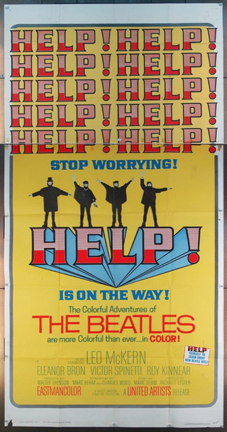 HELP! (1965) 26054 United Artists Original Three Sheet Poster (41x81) Very Good Plus to Fine Condition