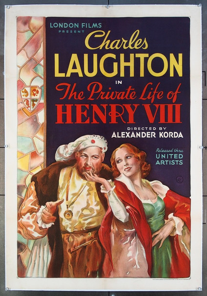 PRIVATE LIFE OF HENRY VIII, the (1933) 26658 United Artists Original U.S. One-Sheet Poster (27x41) Linen Backed  Very Fine Condition