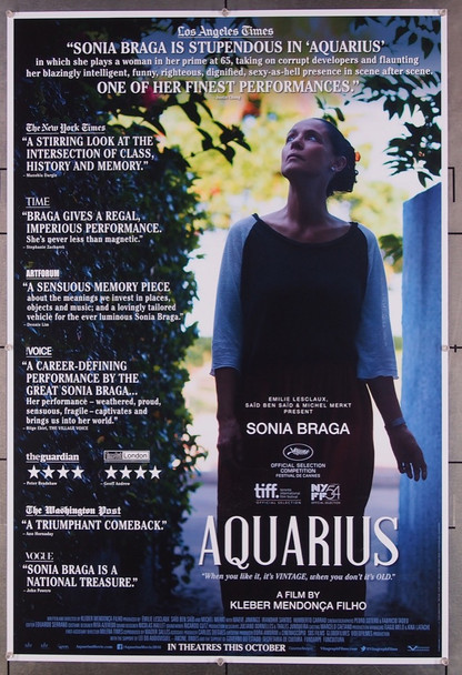 AQUARIUS (2016) 26840 Vitrine Films Original One-Sheet Poster (27x40) Rolled Double Sided  Very Fine Condition
