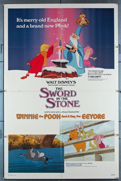 SWORD IN THE STONE, THE (1963) 27357 Walt Disney Company Original One-Sheet Poster (27x41) Folded  Re-release of 1983  Very Fine Condition