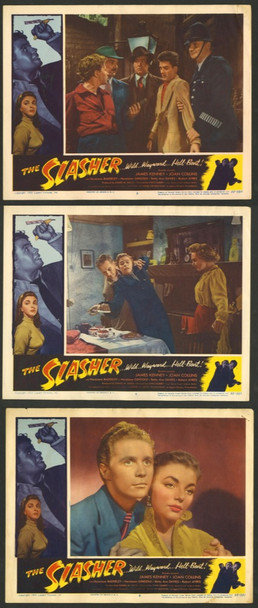 SLASHER, THE (1953) 4354 Original Lippert Pictures Group of 3 Lobby Cards (11x14).  Fine Condition.