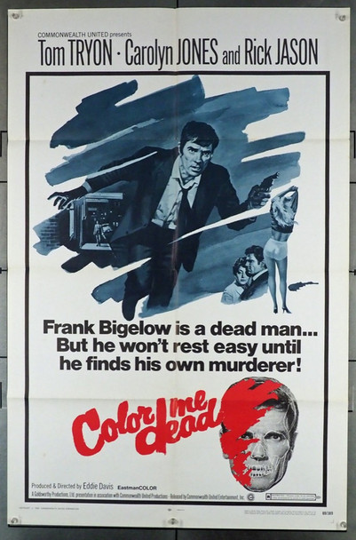 COLOR ME DEAD (1969) 3556 Commonwealth Original U.S. One-Sheet Poster (27x41) Folded  Fine Plus Condition