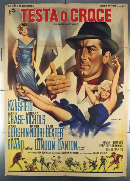 GEORGE RAFT STORY, THE (1961) 28472 Original Italian 39x55 Poster  JAYNE MANSFIELD   Folded  Very Good Condition  Average Used